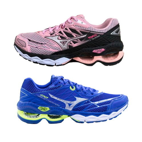 Kit 2 pares Mizuno Wave Creation 20: Rosa + Azul