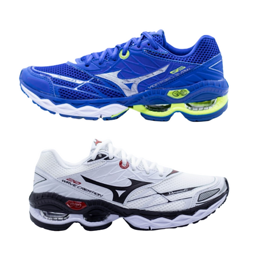 Kit 2 Pares Mizuno Wave Creation 20: Azul + Branco