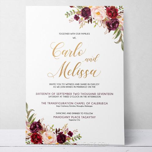 melissa burgundy flowers wedding invitation suite printable