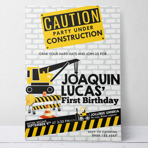 Construction theme printable birthday invitation stopboris