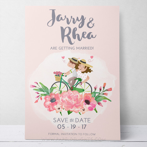 biking couple save the date printable invitation