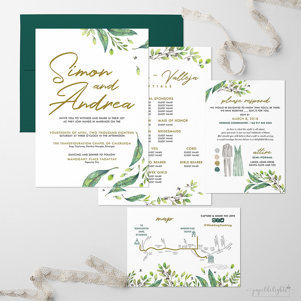 Andrea Foliage Wedding Invitation Suite Printable