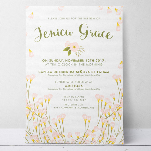 Blush Floral Printable Baptism Invitation