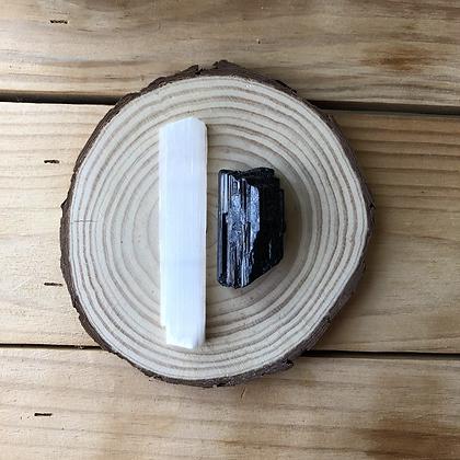 Kit Selenita + Turmalina Negra