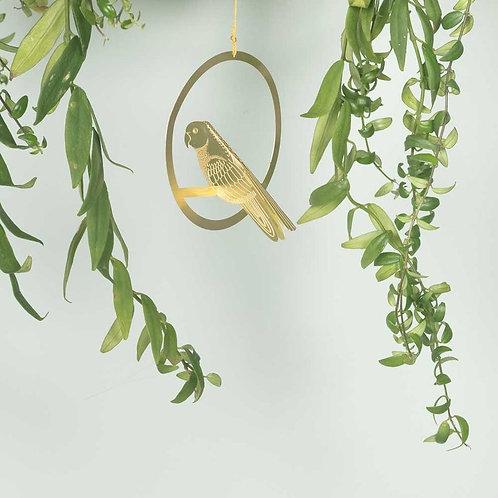 Brass Bird Plant Decoration