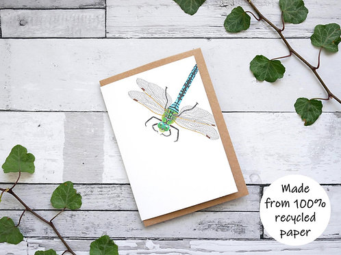 Illustrated Dragonfly Card - 100% Recycled Wildlife Inspired Greetings Card