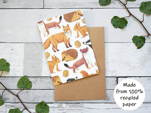 Illustrated British Mammals Card - 100% Recycled Wildlife Inspired Greeting Card