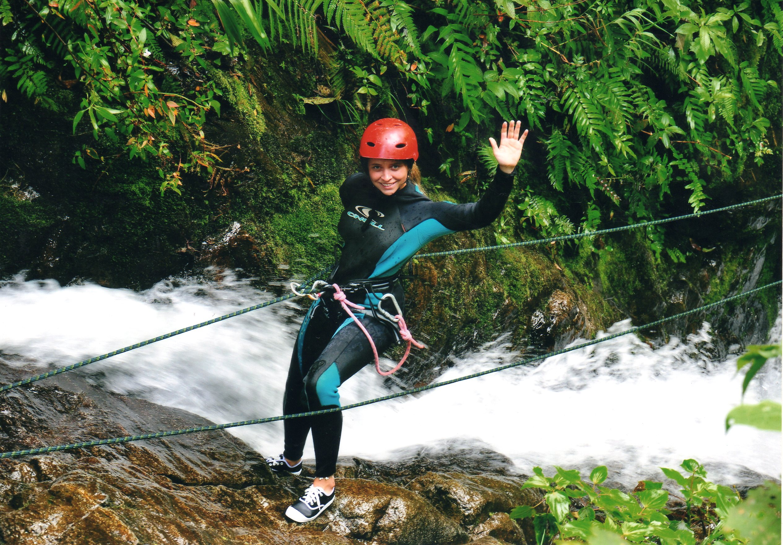 Canyoning Chileans in Banos