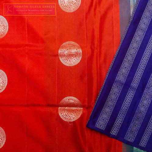 RED COLOURED KANCHIPURAM SILK SAREES WITH DARK BLUE PALLU