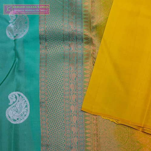 ANANDA BLUE COLOURED KANCHIPURAM SILK SAREES WITH GOLD JARI PALLU