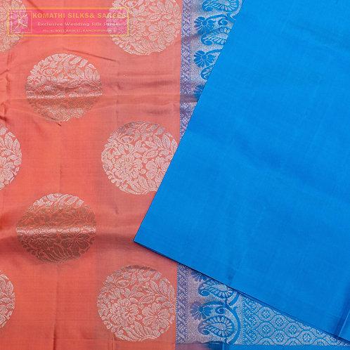 ORANGE COLOURED KANCHIPURAM SILK SAREES WITH ANANDA BLUE  PALLU