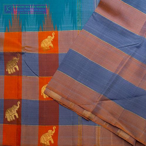 ANANDA BLUE COLOURED KANCHIPURAM SILK SAREE WITH CHECKED PALLU
