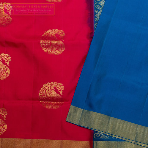 RED COLOURED KANCHIPURAM SILK SAREES WITH RAMAR BLUE  PALLU