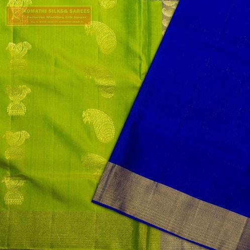 LIGHT GREEN COLOURED KANCHIPURAM SILK SAREES WITH DARK BLUE PALLU