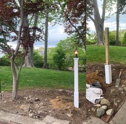 Backyard light installation in Commack.