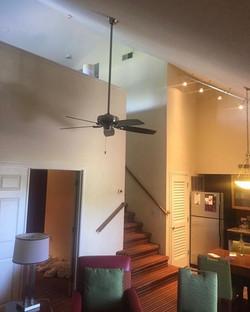 High ceiling fan installation.