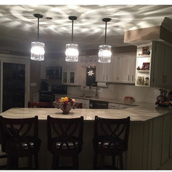 New pendant lights in a customers kitchen.