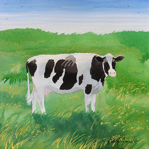"""Black and White Cow, Outstanding in her Field"""