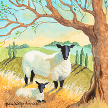 Mother Sheep and Lamb on Hill