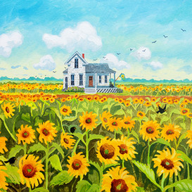 House and Sunflower Field