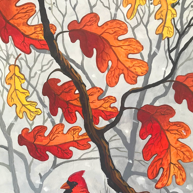 Cardinal in the Red Oak