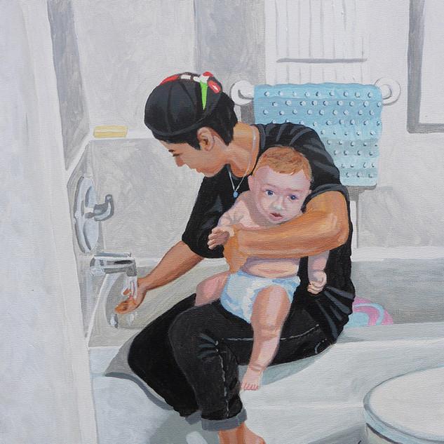 Rachel With Julian at Bathtime