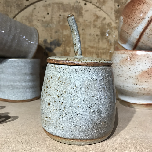 Lidded Jar with Snowflake Crackle Glaze