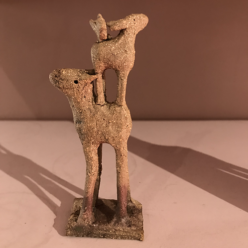 Small herd piece with baby and bird