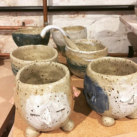 Pots with personality , out of the kiln