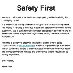 Safety First-Team Message