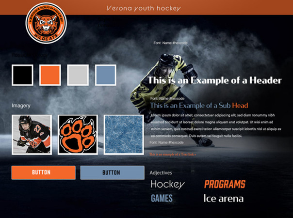 Wireframe for the Verona hockey website