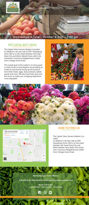 Capital View Farmers Market website design