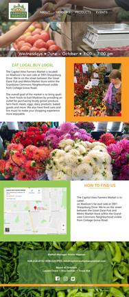 Capital View Farmers Market website design