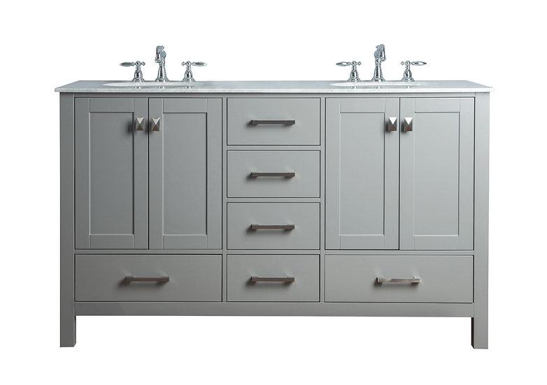 """60"""" Malibu Grey Double Sink Vanity"""