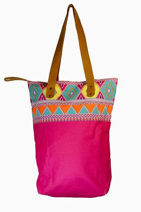sac fourre tout motifs géométriques rose