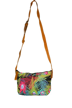sac à main plumes de paon vert