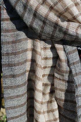 écharpe rayée beige en cachemire
