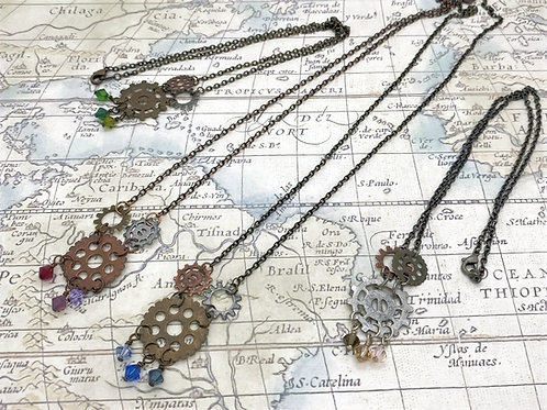 Crystal Gears Necklace