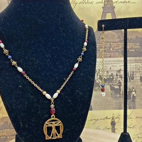 Vitruvian Man Necklace & Earrings