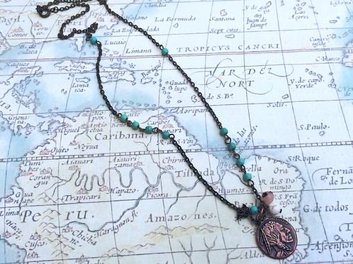 Indian Copper Head Necklace, Earring & Bracelet Set
