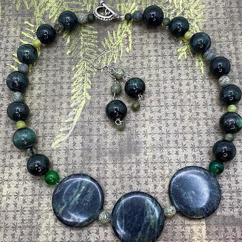 Serpentine Earrings & Necklace