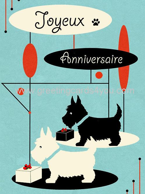 5720150058FR - Joyeux Anniversaire (scottie dogs)