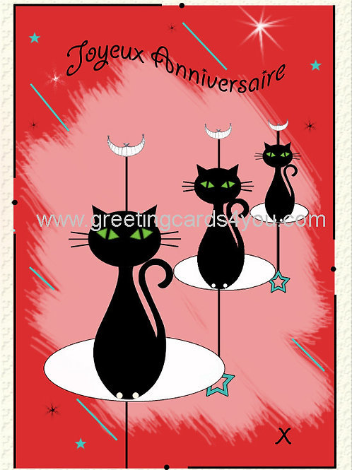 5720150061FR - Joyeux Anniversaire (feline fine)