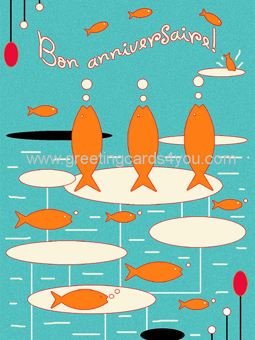 5720150064FR - Bon anniversaire (fishes)