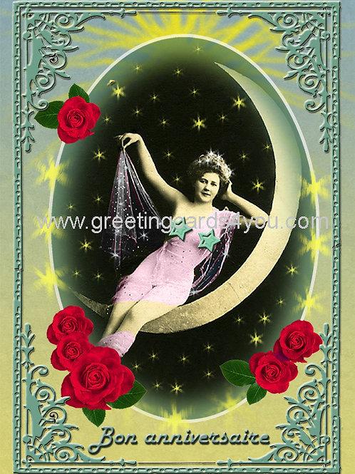 5720140322FR - Bon Anniversaire (reclining on moon)