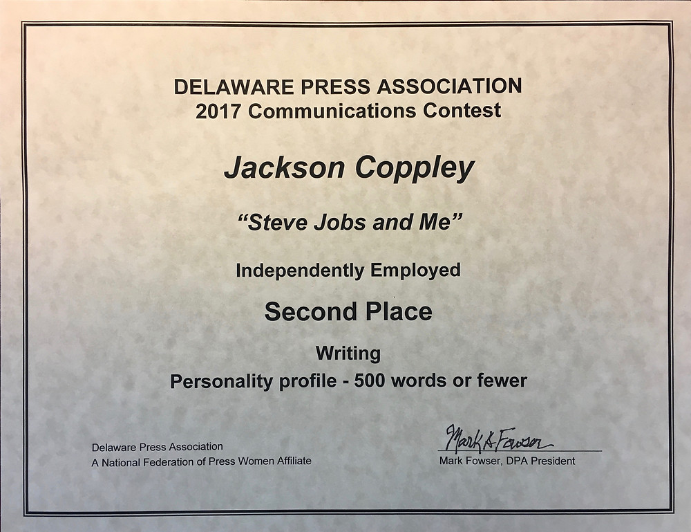 This entry won a writing award from the Delaware Press Association