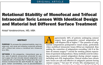 Rotational Stability of Monofocal and Trifocal Intraocular Toric Lenses With Identical Design and Material but Different Surface Treatment