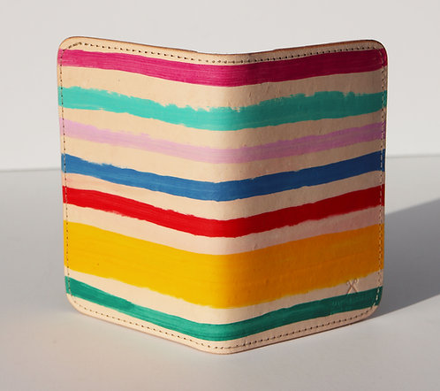 Leather Field notes cover / Passport case - Hand painted stripe pattern