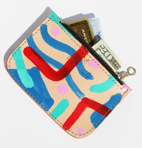 Leather Zipper Pouch - Multi Colored