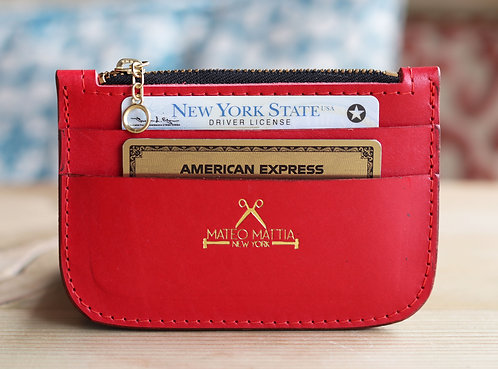 Red Leather Zip Wallet